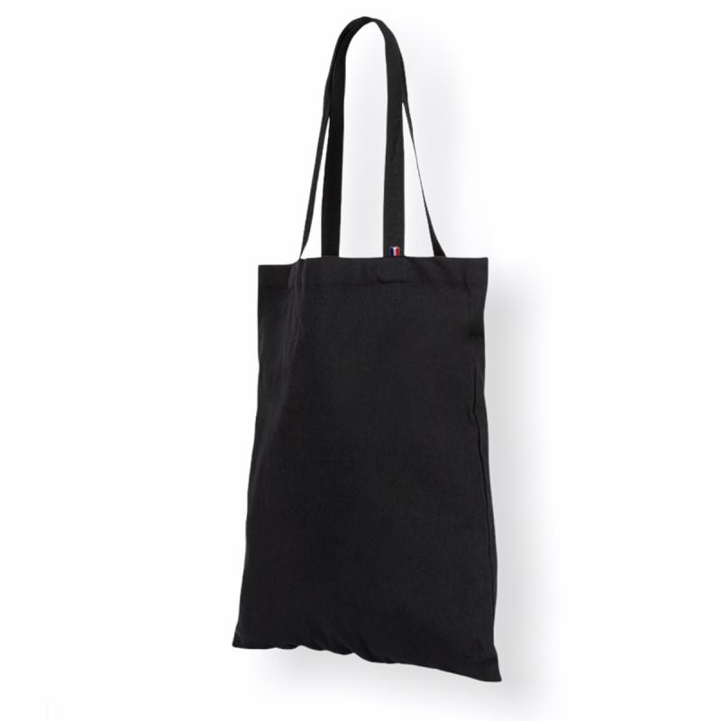 Tote bag uni noir, écoresponsable et fabriqué en France