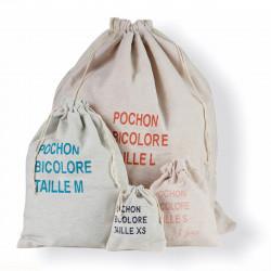 Famille de pochons bicolore en matières recyclées, personnalisable et fait en France
