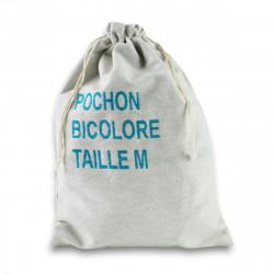 Pochon de taille M, personnalisable en bicolore avec le visuel de votre choix, tissé et confectionné en France