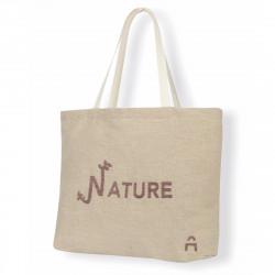 Cabas naturel, composé de lin cultivé en France, personnalisable et 100% produit dans la Loire !