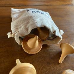 Packaging bicolore à jouets en bois